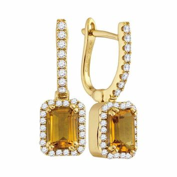 14kt Yellow Gold Women's Round Natural Citrine Diamond Rectangle Dangle Earrings 1-1-3 Cttw - FREE Shipping (US/CAN)