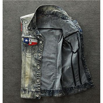 Men Denim Vest Flag Stylish Vintage Patchwork Male Personality Slim Blue Punk Cowboy Jacket Coat