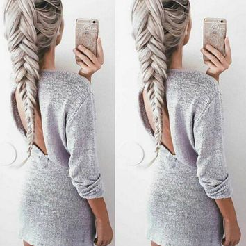 DCCKJ2X Knitting sweater dress render backless dress