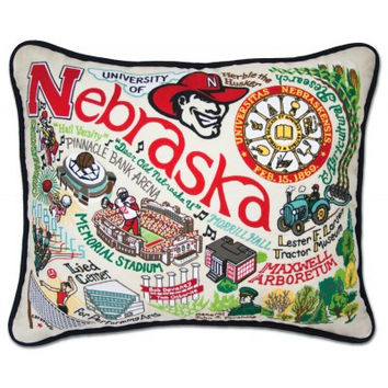 University of Nebraska Hand Embroidered Pillow
