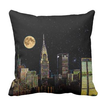 New York Skyline At Night With Full Moon Throw Pillow