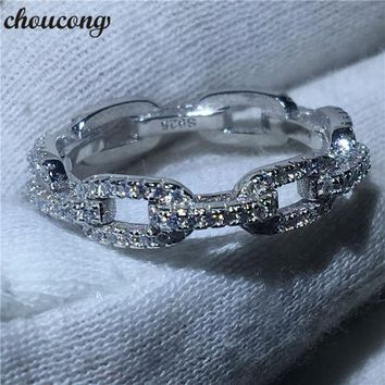 choucong Luxury Jewelry Chain Style 100% Real Soild 925 sterling Silver ring AAAAA Zircon Wedding Band Rings For Women men Gift
