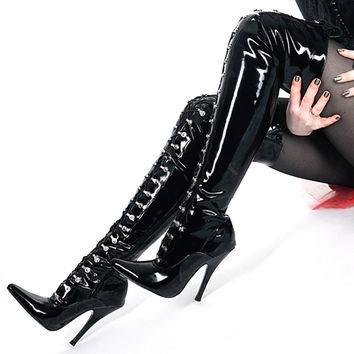 """Jialuowei 4 """" 1/2 High heels Ladies Black Patent Over Knee Boots Sexy Thigh Thin Heel Pointed Toe Stiletto Point Lace Up Shoes"""