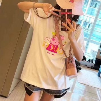 """Gucci x Peppa Pig"" Women Fashion Casual Cute Cartoon Letter Short Sleeve T-shirt Top Tee"