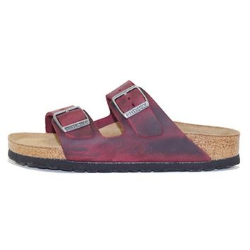 Birkenstock For Women: Arizona Oiled Leather Zinfandel Soft Footbed Sandal - Beauty Ti
