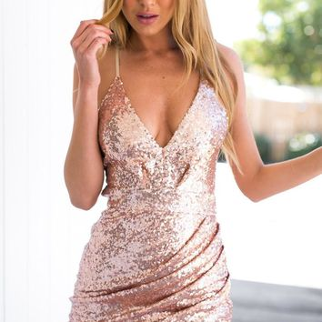 CUTE SHINING SEQUINS STRAPS DRESS