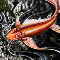 Koi by Shanna Trumbly Canvas Giclee Print 27 x by trumblydesigns