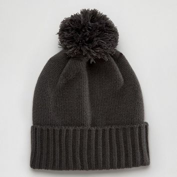 ASOS Bobble Beanie In Grey at asos.com