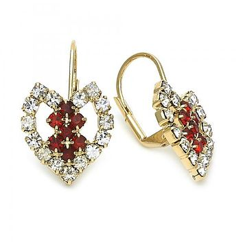 Gold Layered 5.125.004 Leverback Earring, Heart and Love Design, with White and Garnet Cubic Zirconia, Polished Finish, Golden Tone