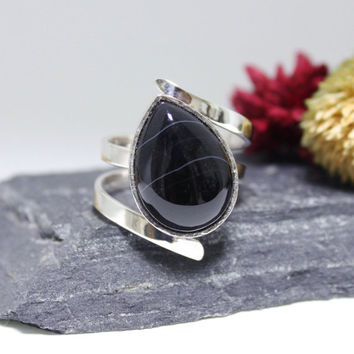 Tornado Black Lace Onyx Ring/ Teardrop Lace Onyx Ring / Lace Onyx Cocktail Ring/ Handmade Sterling Silver Ring