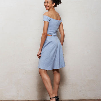 Minnie Off Shoulder Skater Dress with Cut Outs in Pastel Blue