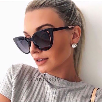 Hot Cat Eye Hollow Party Cateye Popular Hollow Brand designer Women Mirror Sunglasses lady Itay UV400 Fashion sun glasses