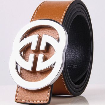 GUCCI 2 G Woman Fashion Smooth Buckle Belt Leather Belt