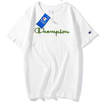 Champion Fresh Color Fashion Women Men Tee Shirt Top Embroidery Word Green