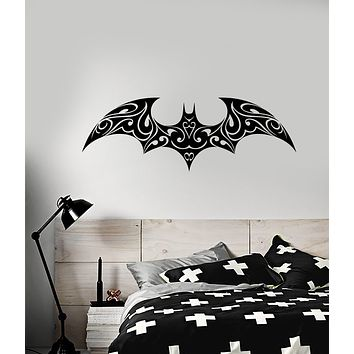 Vinyl Wall Decal Gothic Bat Ornament Halloween Animal Style Stickers (3758ig)