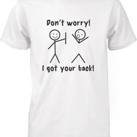 Men's Funny Graphic Tees - I Got Your Back White Cotton T-shirt