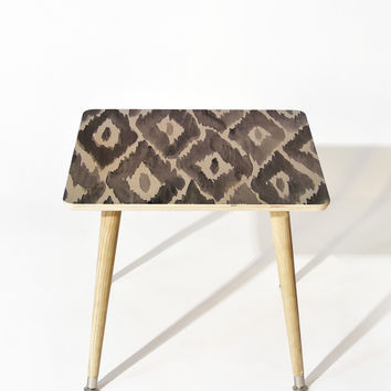Natalie Baca Painterly Ikat in Black Side Table