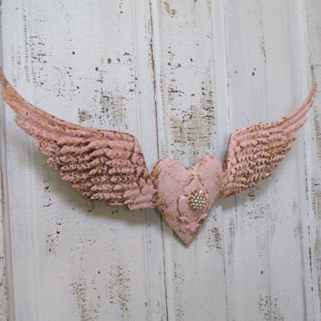 Santos metal wings and heart hand painted pink rusted shabby chic embellished rhinestone home decor anita spero