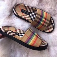 Burberry Trending Women Stylish Classic Rainbow Classic Plaid Flat Shoe Sandals I11967-1