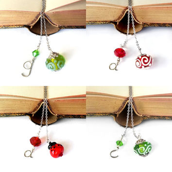 Personalized Gift - Personalized Bookmark with Initial, Teacher Gift, Custom Bookmarks, Book Thong