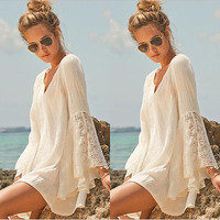 Women Vintage Hippie Boho Bell Sleeves Gypsy Festival Holiday Lace Mini Dress