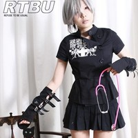 Guro Lolita Punk Skull Metal Hospital Nurse Angel Wing Uniform Wrap Shirt+Glove
