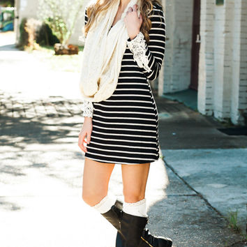 Life Is A Wonder Black Striped Tunic Dress