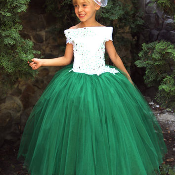 Flower Girls Dress Birthday Party Holiday Peasant Bridesmaid Green Dress