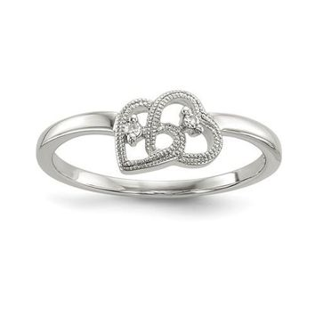 Sterling Silver Genuine Diamond Double Heart Promise Ring