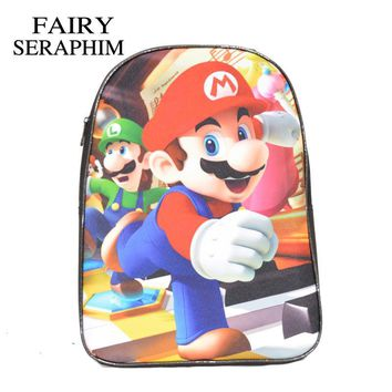 Super Mario party nes switch FAIRY SERAPHIM Children 3D Cartoon School Bag  Bros kids and boys School Mochila Backpacks two zipper compartments AT_80_8