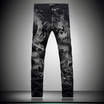 Black Dragon Print Jeans Pants 2018 Top Male Fashion Designer Brand Painted Stretch Jeans For Men Straight Slim Slacks Jeans