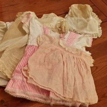 Set of 5 Vintage Doll Clothes Dresses Bonnet for Baby Dolls Decor Collectible