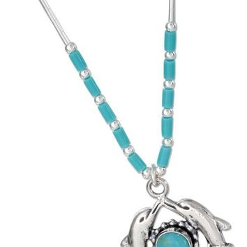 "Sterling Silver Necklaces: 16"" Liquid Silver And Simulated Turquoise Double Dolphin Necklace"
