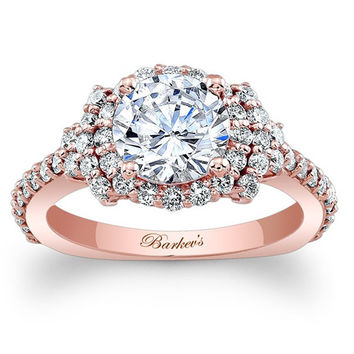 Barkev's 14K Rose Gold Elegance Halo Diamond Engagement Ring