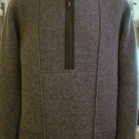 Boiled Wool Men Casual Grey Jumper