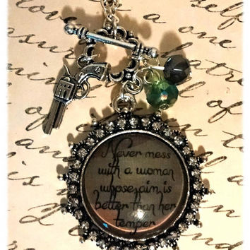 Never Mess with a Woman Whose Aim is Better Than Her Temper - Camp gun necklace with crystals and charms - pistol necklace, hunting necklace