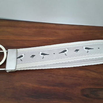Grey Seagulls Wristlet Ribbon Key Chain Wrist Strap Keyring, Bridesmaid Favor, Wrist Lanyard Key Fob ID or Badge Holder