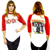 Vintage 70s AC/DC Highway To Hell Tour 1979 Raglan 3/4 Sleeve Jersey T Shirt Sz M