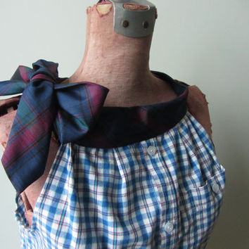 Upcycled Blue Plaid Shirt, Plaid Tank Top, Halter Top with Necktie Collar, Repurposed Mens Shirt, Womens Grunge Shirt, Altered Fashion