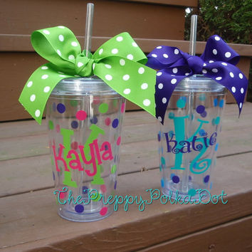 Personalized 16oz Tumbler Cup with Lid & Straw - Name over Initial Style