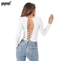 Autumn Crop Top Backless Sexy Female 50% Cotton Bandage T Shirt Tie Up Long Sleeve Gray Color Women's T Shirts