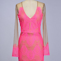 Hot Pink Rosebud Lace Dress