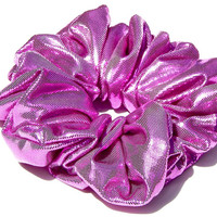 METALLIC SCRUNCHIE, Chic Hair Accessorie, Pink, Iridescent, Stretch, Wedding Accessorie, Spring, Beach