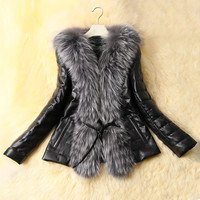 Black Long Sleeves Faux Fur Collar Leather Coat