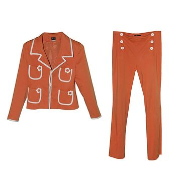 Cara Lotti Orange & White Pantsuit, Sailor Style Pants