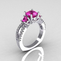 AMAZING 2.30CTW PINK ROUND STUD 925 STERLING SILVER ENGAGEMENT AND WEDDING RING