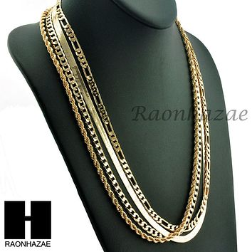 HIP HOP 4 CHAINS SET ROPE, CUBAN, HERRINGBONE & FIGARO 5mm NECKLACE CHAIN SET
