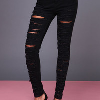 SLASHED HIGH WAISTED JEANS