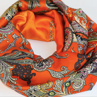 Orange Scarf Summer lightweight Infinity Scarf Paisley Scarf Loop Cowl