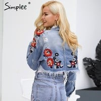 Flower embroidery denim jacket coat women Vintage winter basic jackets Casual ripped jean jacket outerwear